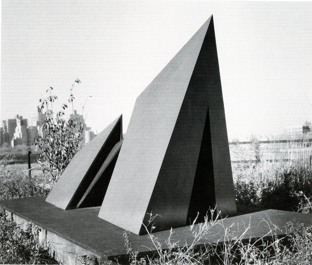 "image depicting Beverly Pepper's sculpture ""Omega"" composed of two steel pyramid-like structures emerging from the ground."